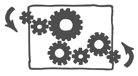 Gears in a transparent box